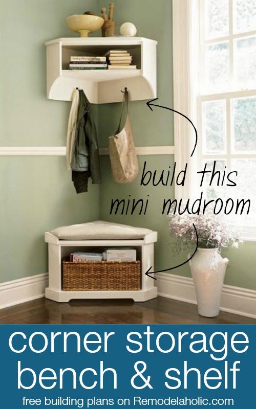 Mini Mudroom: Corner Shelf And Bench