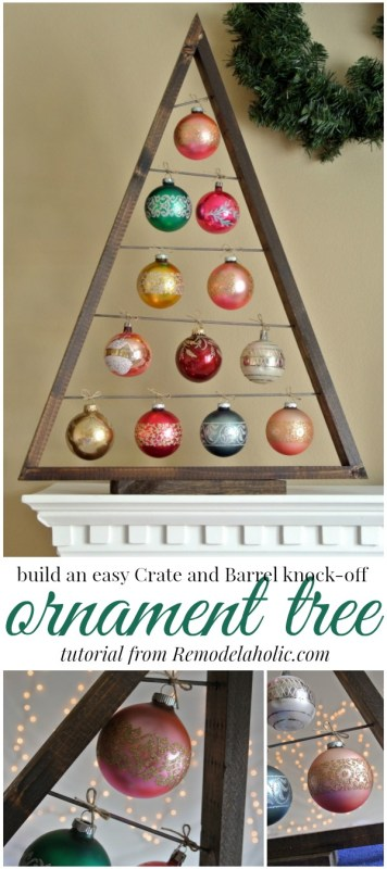 Build an easy ornament display tree -- Knockoff the Crate and Barrel wood ornament display tree for a fraction of the price using these free plans! Use it as an advent calendar or as a replacement for a traditional tree. Perfect for vintage and special ornaments. #remodelaholic #christmasdiy #diyChristmastree #christmas #holidaydecor