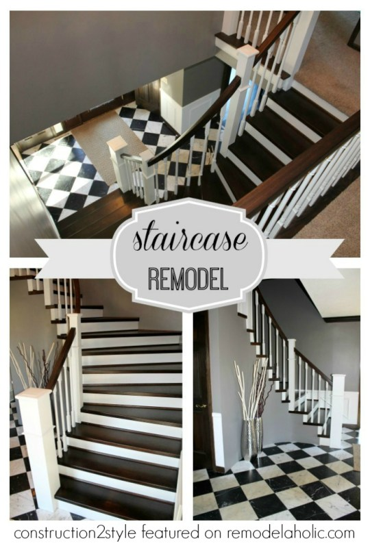 Curved Staircase Remodel - Construction2Style via @Remodelaholic #DIY #stairs #beforeandafter