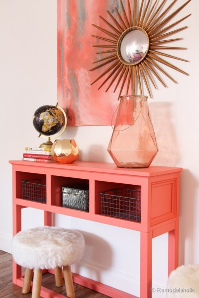 Sherwin-Williams Coral Reef Painted Console Table @Remodelaholic-035