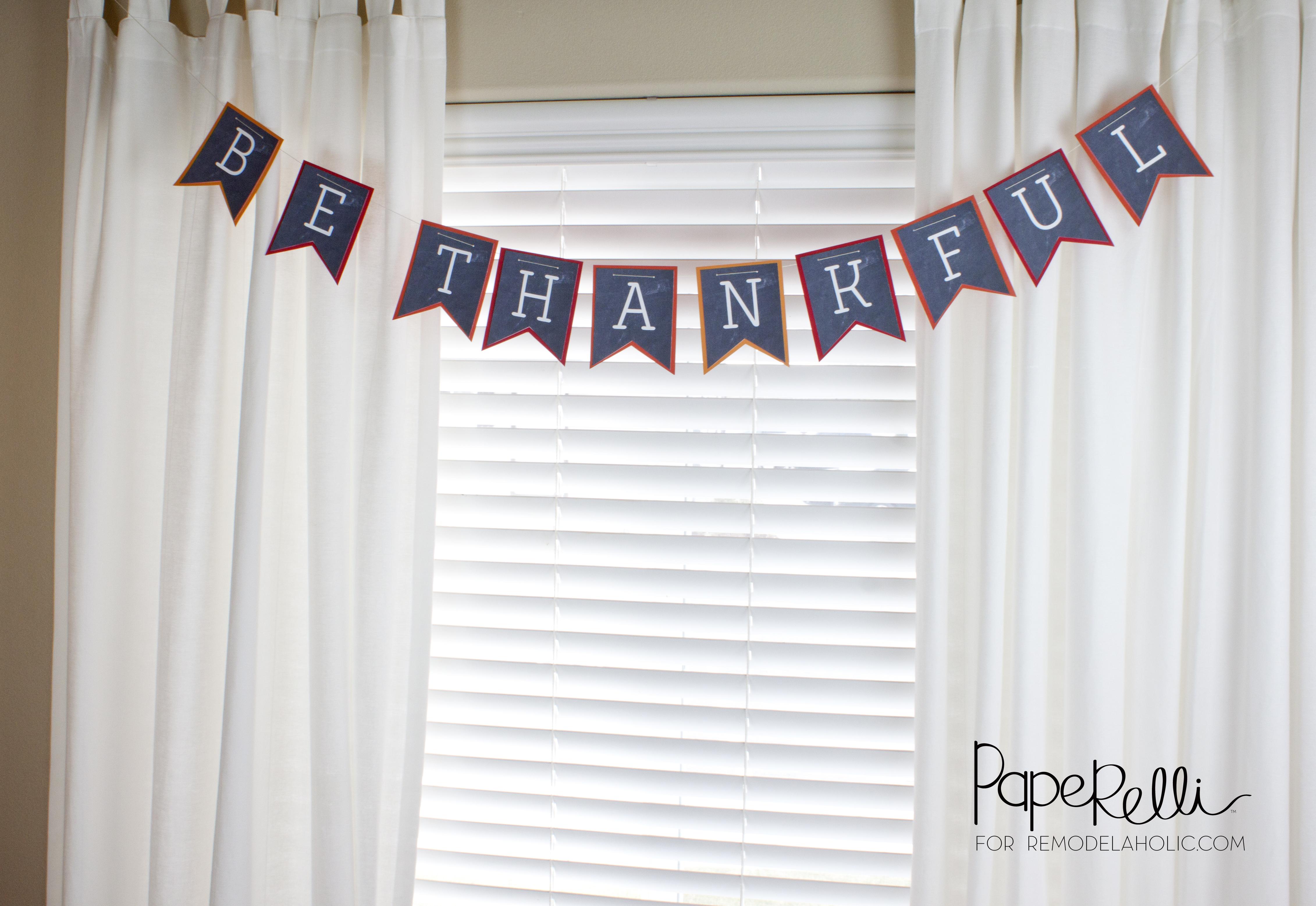 graphic relating to Printable Thanksgiving Banner identified as Remodelaholic Thanksgiving Be Grateful Banner Printable