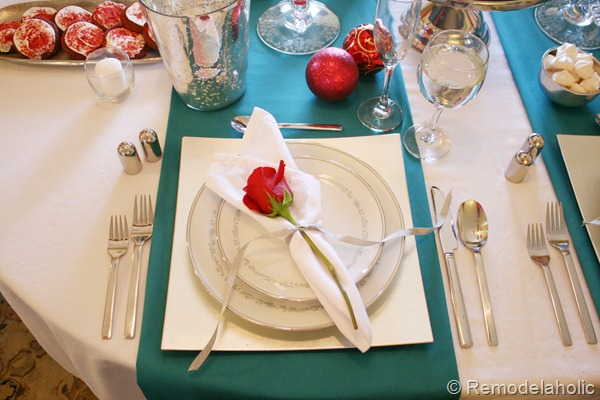 christmas tablescape turquoise