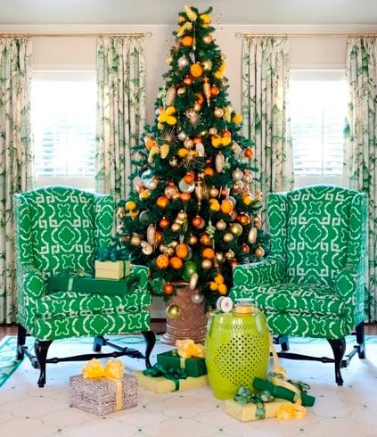 citrus yellow and orange christmas tree - Tobi Fairley via @Remodelaholic