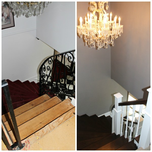 curved staircase from carpet to wood with new railing - Construction2Style via @Remodelaholic