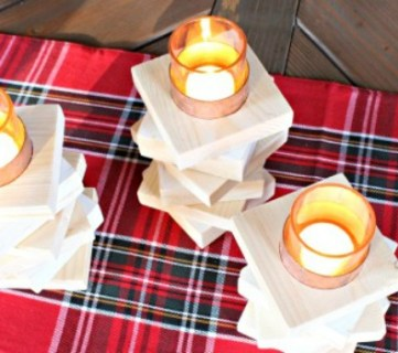 Copper & Wood Candle Holder
