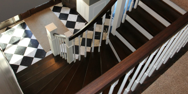 Wonderful Curved Staircase Remodel With New Handrail