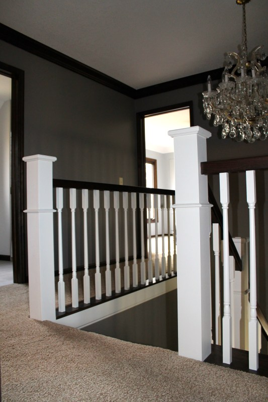 new wood stair hand rail and spindles - Construction2Style via @Remodelaholic