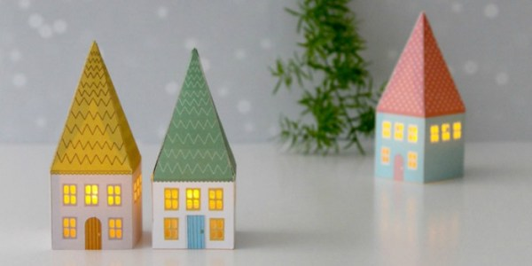 Printable Mini House Luminaries and other easy paper Christmas decoration ideas at Remodelaholic.com
