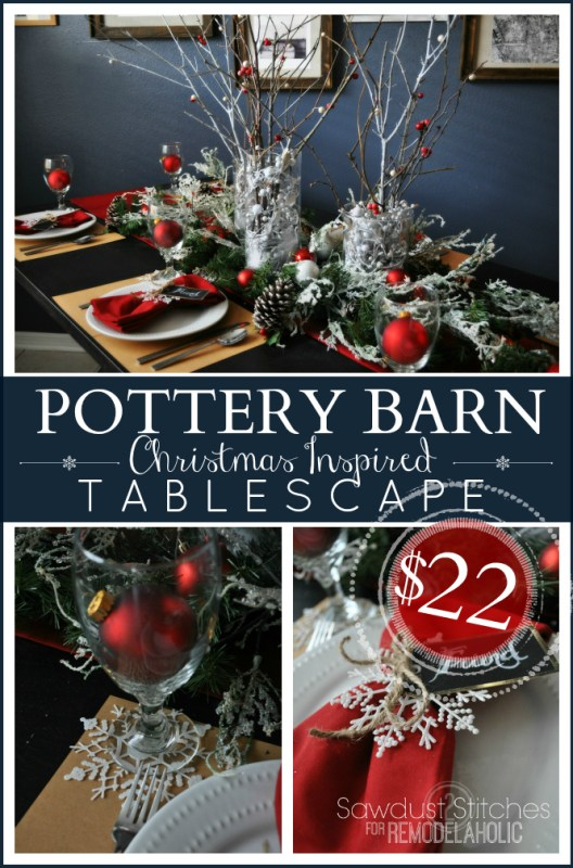Budget-Friendly Holiday Tablescape | Sawdust2Stitches for @Remodelaholic #Christmas #winter #decorating