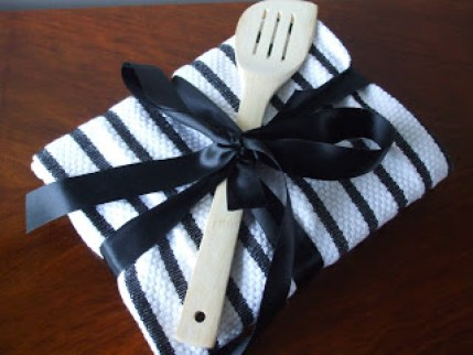 tea towel as gift wrap