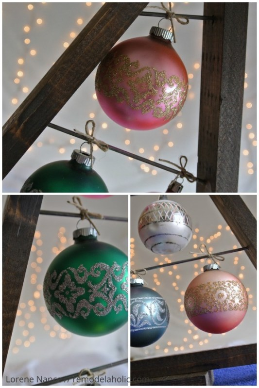 vintage glass ornaments on a knock-off Crate and Barrel ornament tree display @remodelaholic