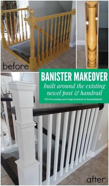 Banister Makeover - TDA Decorating and Design featured on @Remodelaholic
