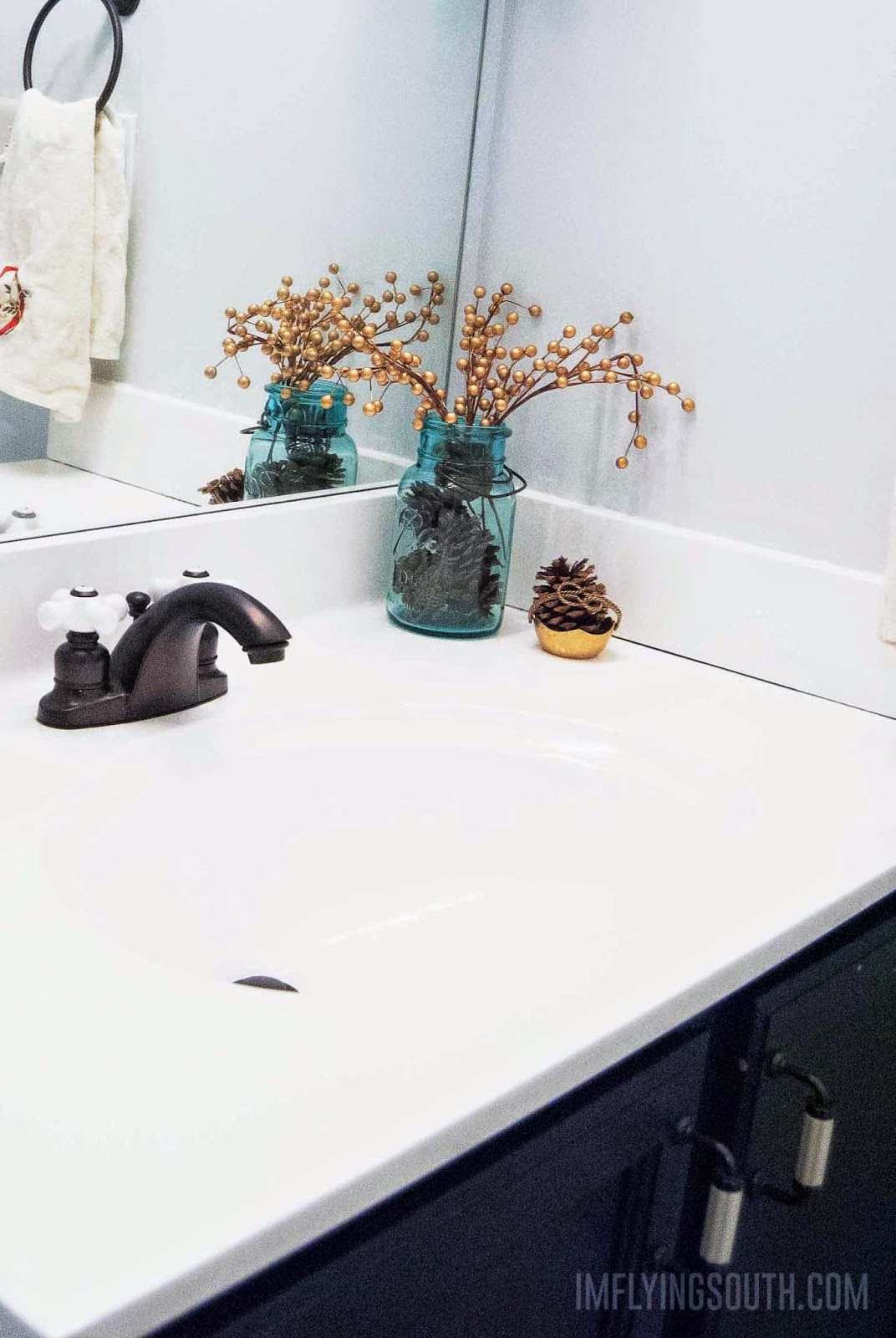 DIY Painted Bathroom Sink And Countertop Tutorial   Iu0027m Flying South  Featured On @