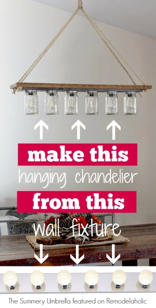 DIY rustic mason jar and wood hanging chandelier pendant light - The Summery Umbrella featured on @Remodelaholic