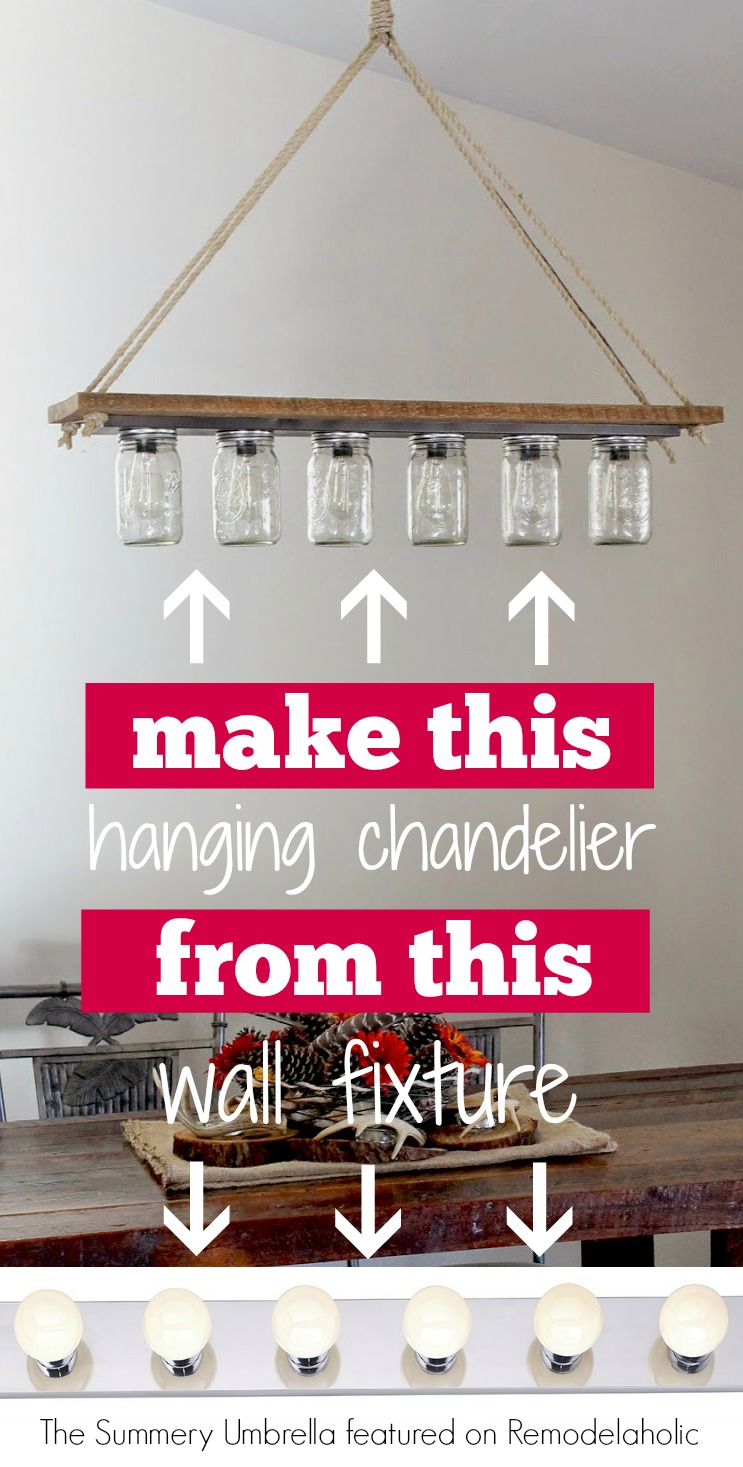 Remodelaholic upcycle a vanity light strip to a hanging pendant light diy chandelier from hollywood style vanity light the summery umbrella on remodelaholic arubaitofo Choice Image