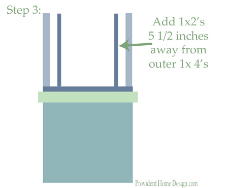 DIY woodwork trim above the fireplace mantel - tutorial step 3 - Provident Home Design featured on @Remodelaholic