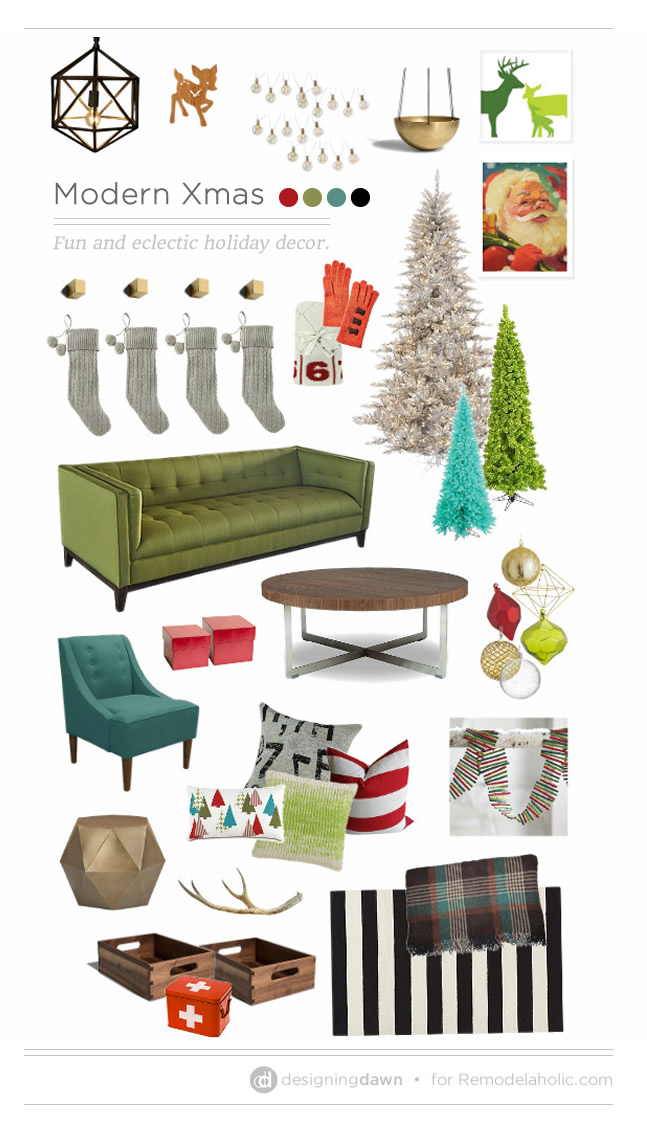 Modern Xmas: fun and eclectic holiday decor | DesigningDawn @Remodelaholic
