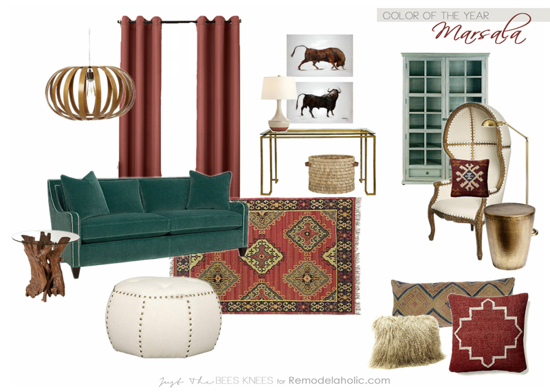 Decorating with the Color of the Year- Marsala on Remodelaholic.com
