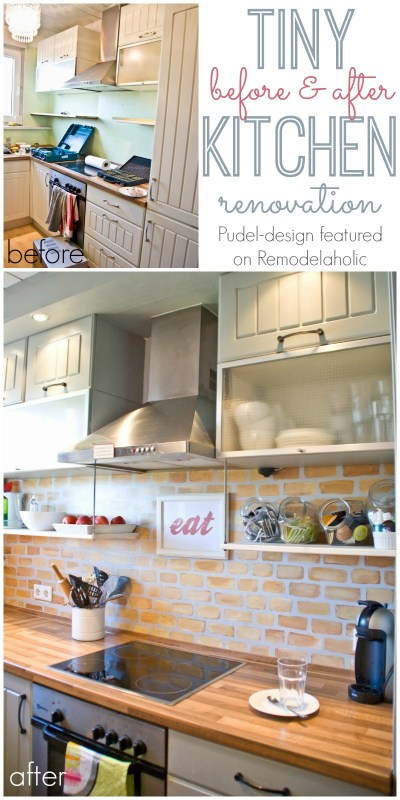 Small Kitchen Reno -- open shelving + a painted brick backsplash! @Remodelaholic