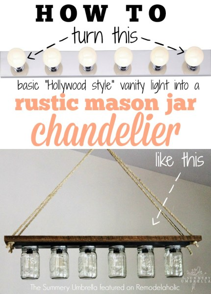 Turn a basic vanity light into a hanging chandelier pendant - The Summery Umbrella featured on @Remodelaholic