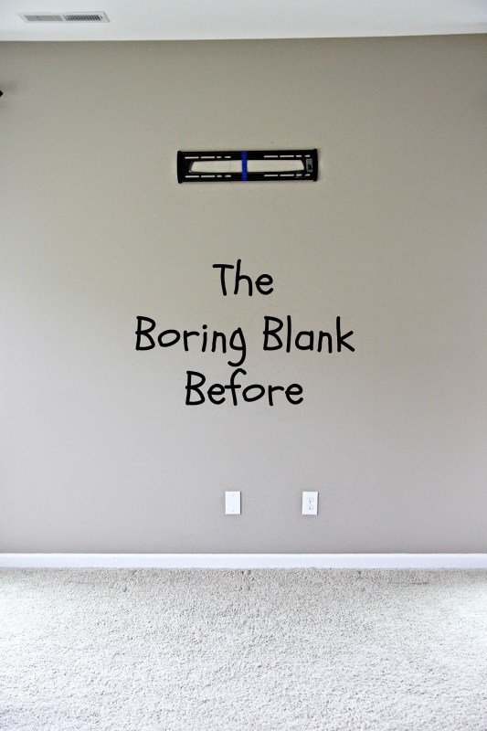 blank wall before faux fireplace - Blesser House featured on @Remodelaholic