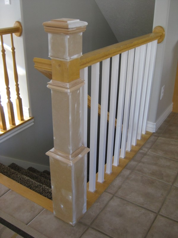 Remodelaholic Stair Banister Renovation Using Existing Newel Post And Handrail