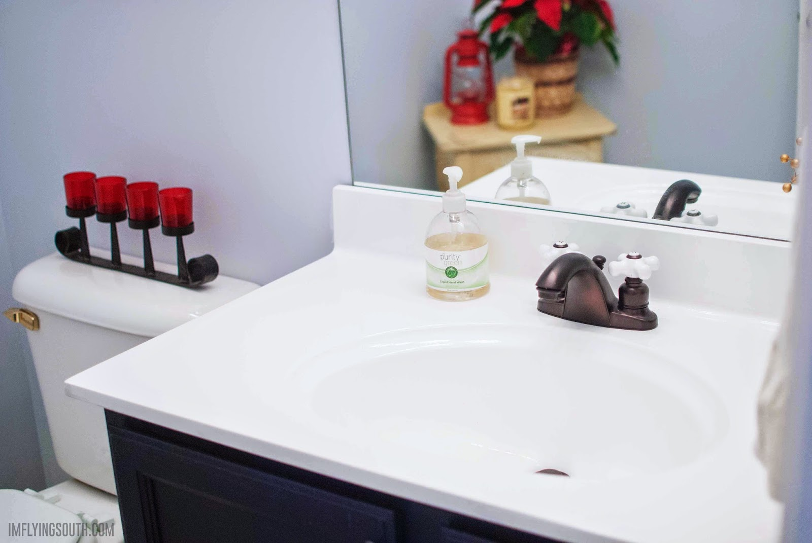 Inexpensive Painted Bathroom Sink Makeover   Iu0027m Flying South Featured On  @Remodelaholic