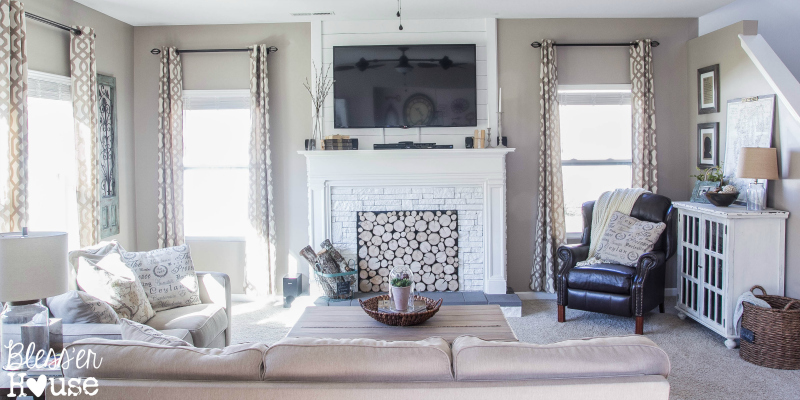Living Room With DIY Faux Fireplace   Blesser House Featured On  @Remodelaholic