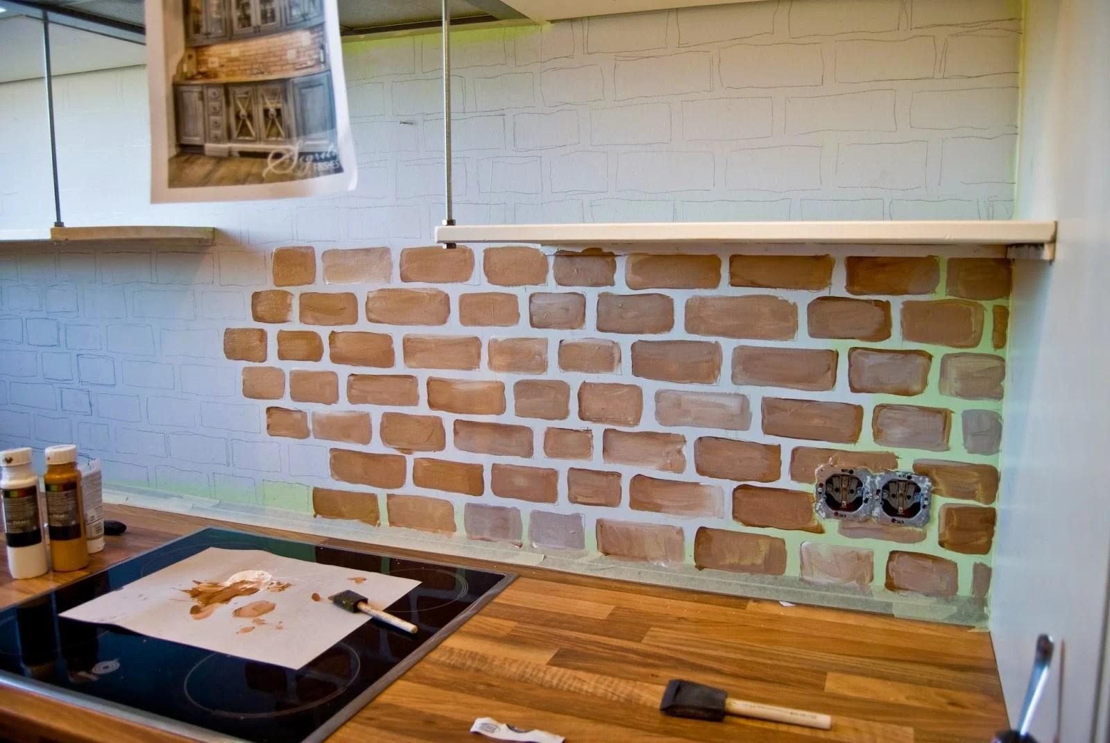faux painted brick backsplash