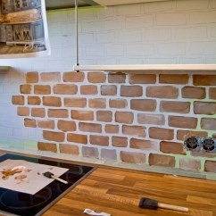Brick Backsplash In Kitchen Islands With Seating And Storage Remodelaholic Tiny Renovation Faux Painted Pudel Design Featured On