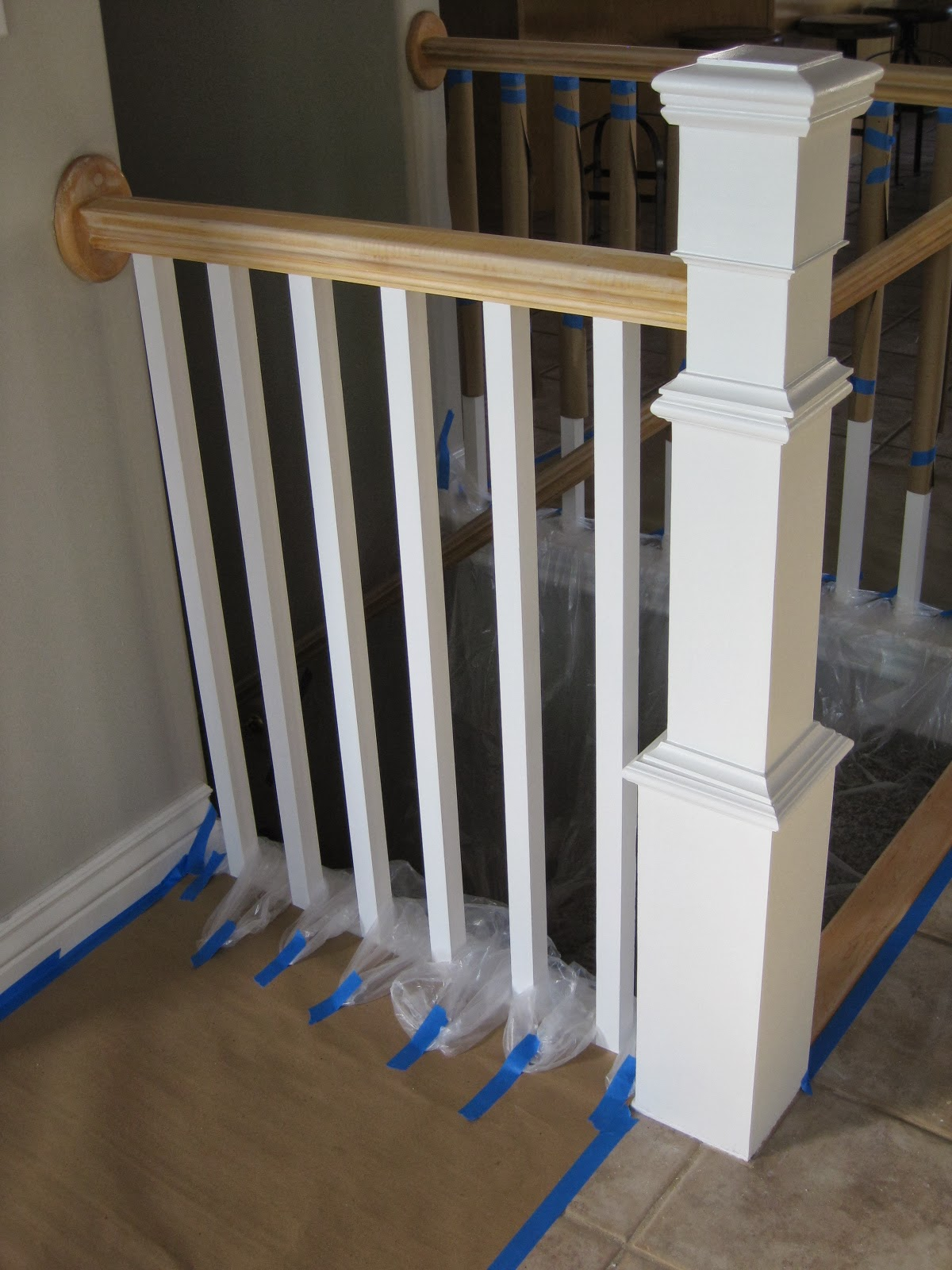 Painting And Staining A Stair Banister   TDA Decorating And Design Featured  On @Remodelaholic