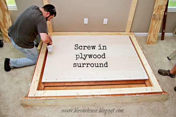 plywood surround for faux fireplace DIY - Blesser House featured on @Remodelaholic