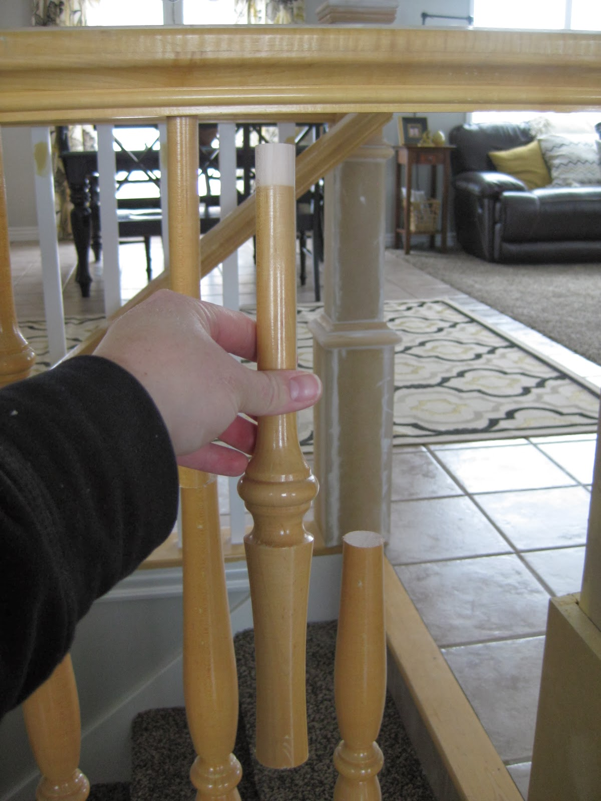 Replacing Stair Banisters   TDA Decorating And Design Featured On  @Remodelaholic