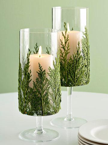 springs of evergreen fir as candleholders - Living the Country Life via @Remodelaholic