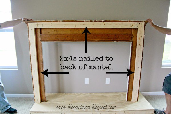 use 2x4s to anchor mantel to faux fireplace - Blesser House featured on @Remodelaholic