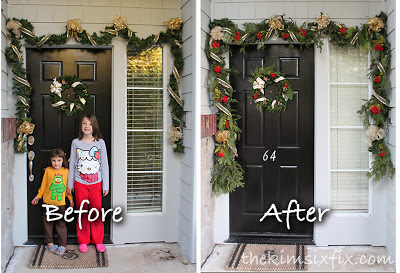 use real fresh evergreen trimmings to bulk up a fake garland - The Kim Six Fix via @Remodelaholic