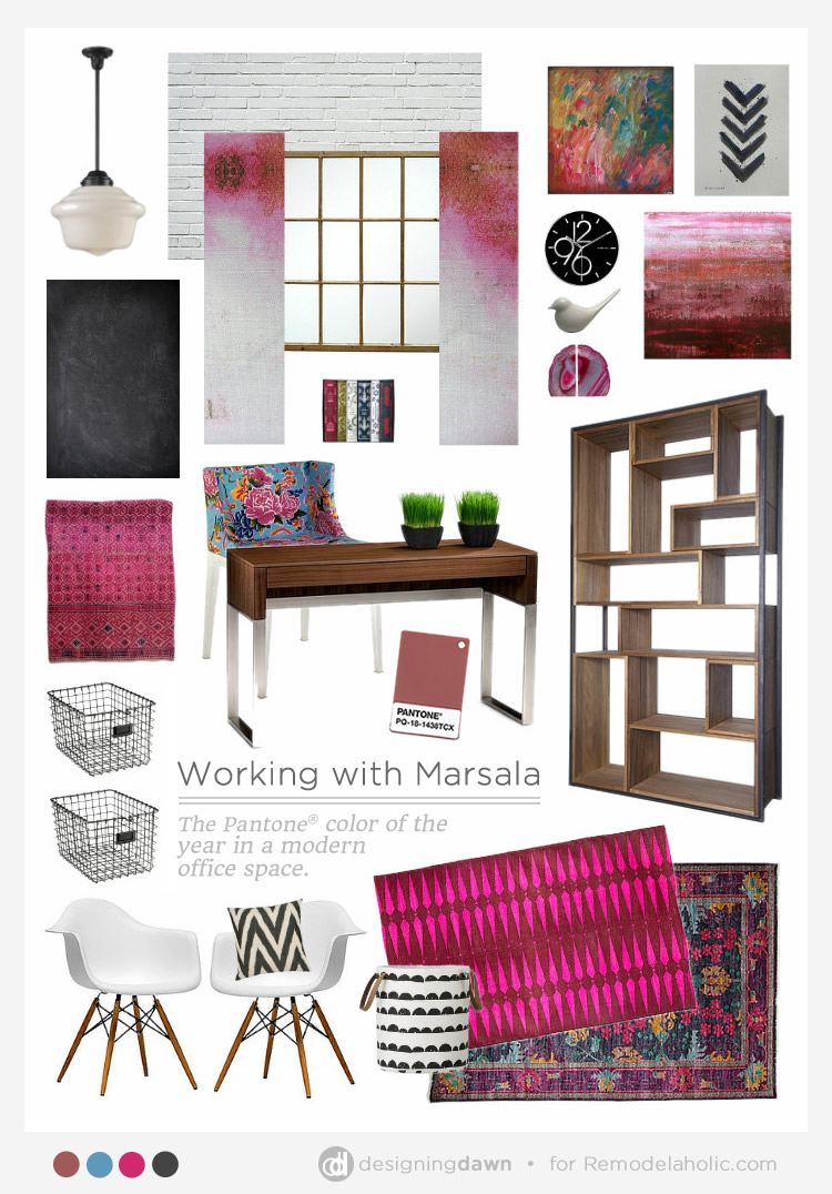 Working With Marsala | Remodelaholic.com #moodboard #office