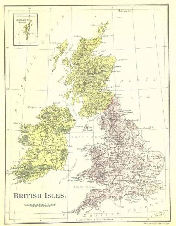 Vintage map, printable, British Isles | Remodelaholic.com #art #printable #maps