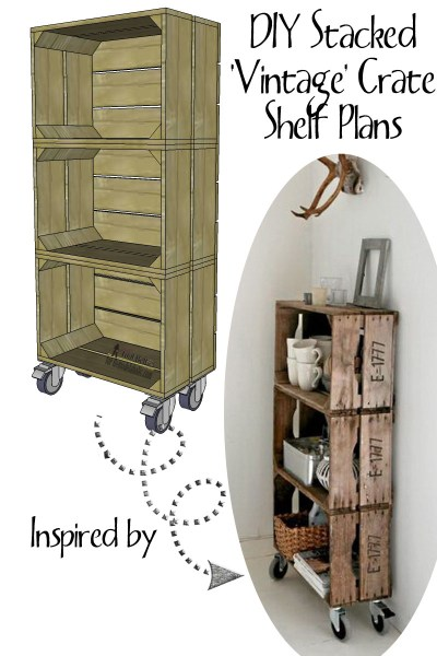 DIY stacked vintage crate shelf plan