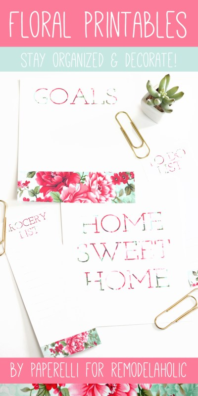 Floral Printables for @Remodelaholic by Paperelli #todo #grocerylist #goals