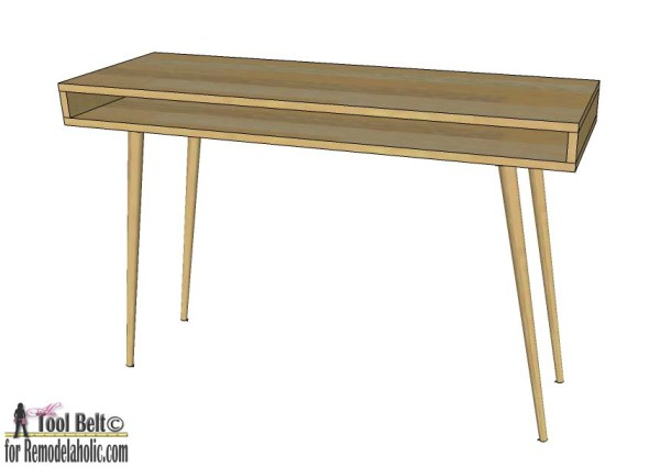If you love the sleek modern look, you'll love this easy Mid-Century Modern Desk build plan on Remodelaholic.com