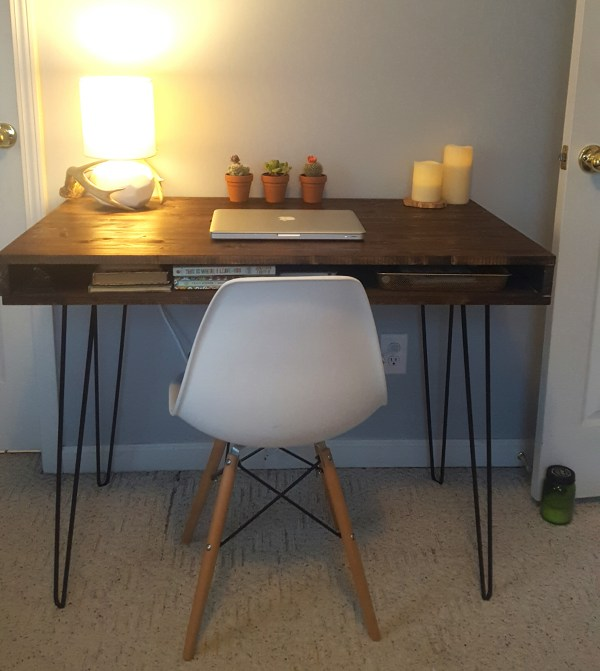 Mid-Century Modern Desk built by reader using Remodelaholic plans