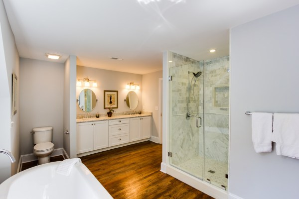 (Old Springs) bright and airy large bathroom renovation, sky blue from Benjamin Moore