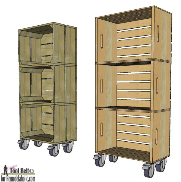 Love the look of vintage crates?  Build DIY 'vintage' crates to make a stacked crate shelf on wheels.