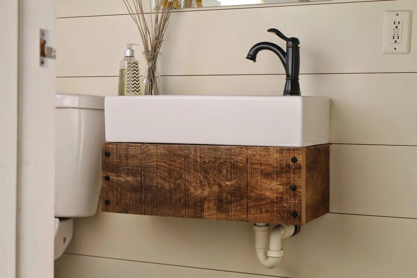 Best Kitchen Gallery: Remodelaholic Reclaimed Wood Floating Vanity of Floating Bathroom Vanities Ikea on rachelxblog.com