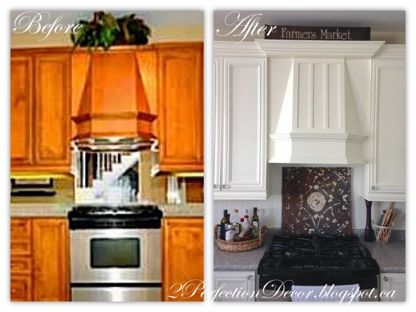 kitchen range hood makeover - 2Perfection Decor via @Remodelaholic