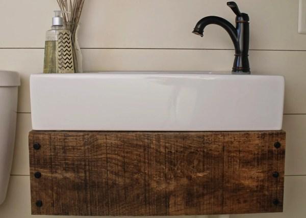 reclaimed wood floating vanity DIY - Girl Meets Carpenter featured on @Remodelaholic