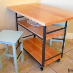 rolling table counter island and stools