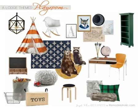 Rustic lodge-themed playroom