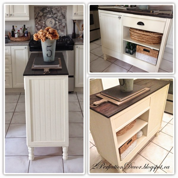 Beadboard kitchen island with open shelves and plank wood top by 2Perfection Decor featured on @Remodelaholic